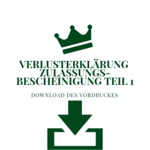 Verlusterklärung Zulassungsbescheinigung Teil 1 Rendsburg